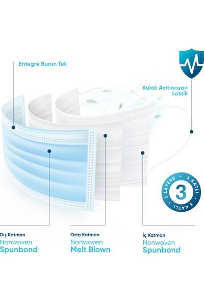 Mediguard TIP2R Meltblown 3 Katlı ve Telli Cerrahi Maske Mavi Renk 50 Adet
