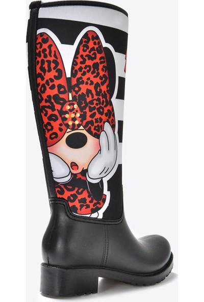 Vizon Ayakkabı Kadın Siyah Minnie Baskı Çizme VZN20-055K