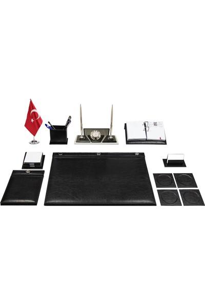 Anadolu Aspendos Düğmeli Siyah Sümen Takımı ve Kristal Isimlik