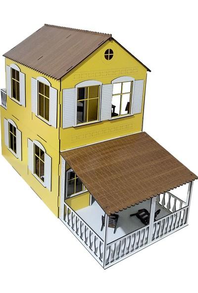 Alfagama Ahşap Çocuk Oyun Evi 36 Parça Eşyalı Seti Sarı 71X55 cm