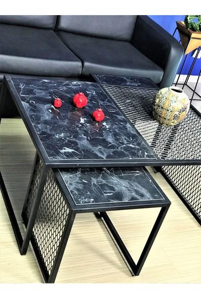 Zg Endüstriyel Home Iskarpela Siyah Mermer Desenli Zigon ve Orta Sehpa Takımı 47X100X70