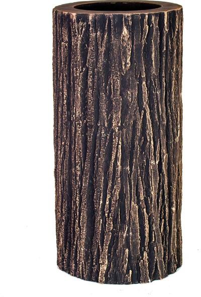 Euro Flora Ağaç Kabuğu Desenli Silindir Saksı 38x78 cm