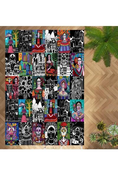 Evpanya Frida Gece Düşseli Desenli Makinada Yıkanabilir Halı