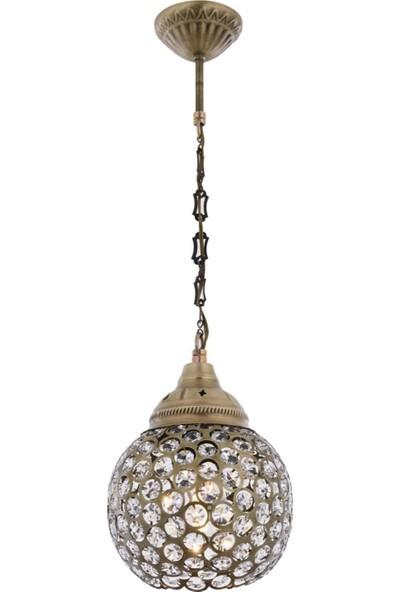 Avonnı AV-4141-1EB Eskitme Kaplama Sarkıt E27 Metal Kristal 22 cm