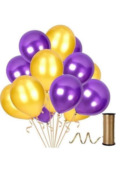 Kullanatparty Rafya Hediyeli 30 Adet Metalik Parti Balonu Altın - Mor