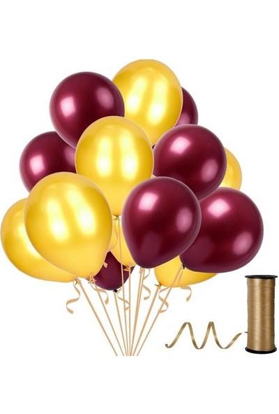 Kullanatparty Rafya Hediyeli 50 Adet Metalik Parti Balonu Altın - Bordo