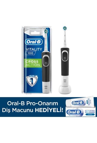 Oral-B D100 Şarjlı Diş Fırçası Cross Action Siyah + Pro Onarım Diş Macunu 50 ml