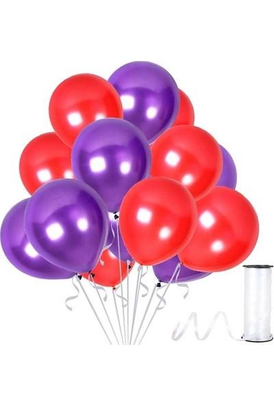Kullanatparty Rafya Hediyeli 30 Adet Metalik Parti Balonu Kırmızı - Mor