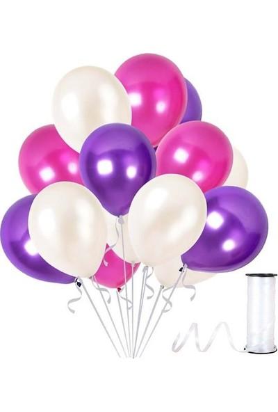 Kullanatparty Rafya Hediyeli 30 Adet Metalik Parti Balonu Mor - Beyaz - Fuşya
