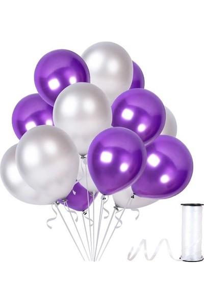 Kullanatparty Rafya Hediyeli 30 Adet Metalik Parti Balonu Mor - Gümüş