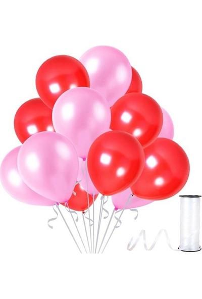 Kullanatparty Rafya Hediyeli 30 Adet Metalik Parti Balonu Kırmızı - Bebek Pembesi