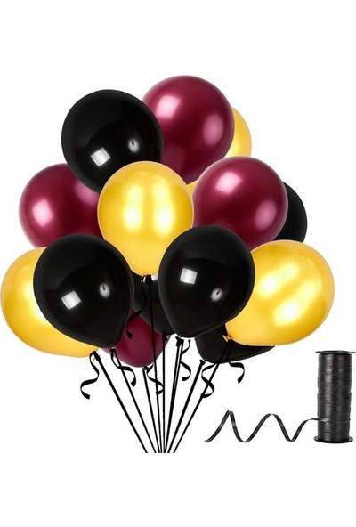 Kullanatparty Rafya Hediyeli 30 Adet Metalik Parti Balonu Siyah - Bordo - Altın