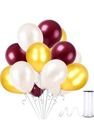 Kullanatparty Rafya Hediyeli 100 Adet Metalik Parti Balonu Bordo - Altın - Beyaz