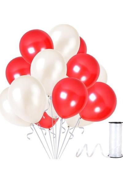Kullanatparty Rafya Hediyeli 50 Adet Metalik Parti Balonu Beyaz - Kırmızı