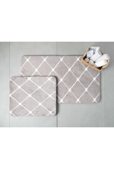English Home Tile Polyester Banyo Paspası Seti Koyu Mürdüm