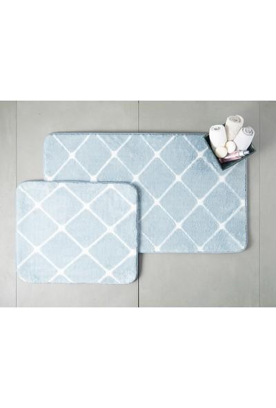 English Home Tile Polyester Banyo Paspası Seti Mavi