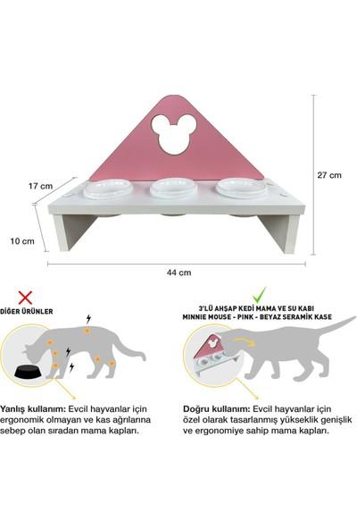 Odun Concept 3'lü Kedi ve Küçük Irk Köpek Mama ve Su Kabı - Beyaz Seramik Kaseli Beyaz - Pink Minnie Mouse