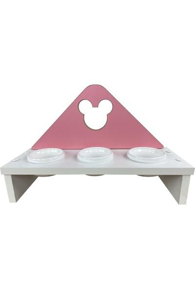 Odun Concept Odunconcept 3'lü Kedi ve Küçük Irk Köpek Mama ve Su Kabı - Beyaz Seramik Kaseli Beyaz - Pink Minnie Mouse