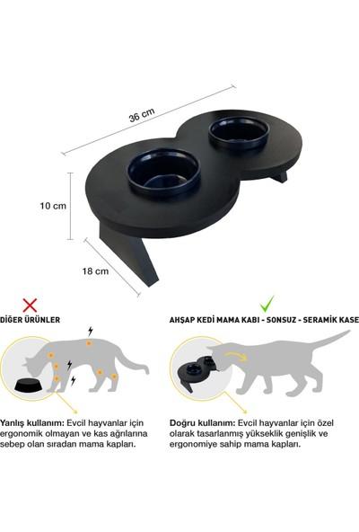 Odun Concept Odunconcept Siyah Seramik Kaseli Kedi ve Küçük Irk Köpek Mama ve Su Kabı - Sonsuz