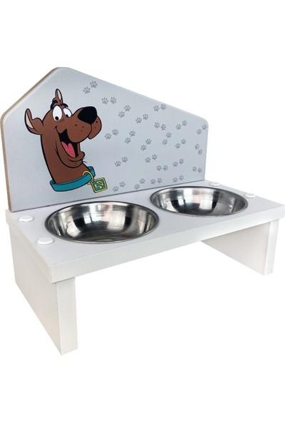 Odun Concept Odunconcept Özel Baskılı Çelik Kaseli Kedi ve Küçük Irk Köpek Mama ve Su Kabı Ahşap - Scooby Doo Beyaz
