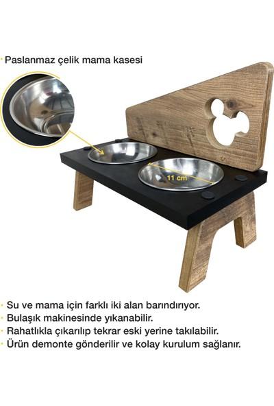Odun Concept Odunconcept Çelik Kaseli Ahşap Kedi Mama ve Su Kabı - Exen - Minnie Mouse