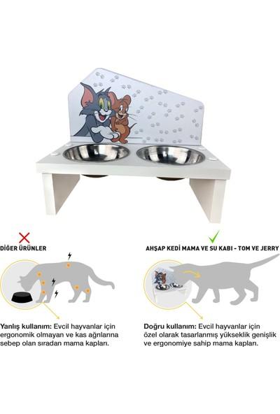 Odun Concept Odunconcept Özel Baskılı Çelik Kaseli Kedi ve Küçük Irk Köpek Mama ve Su Kabı Ahşap - Tom ve Jerry Beyaz