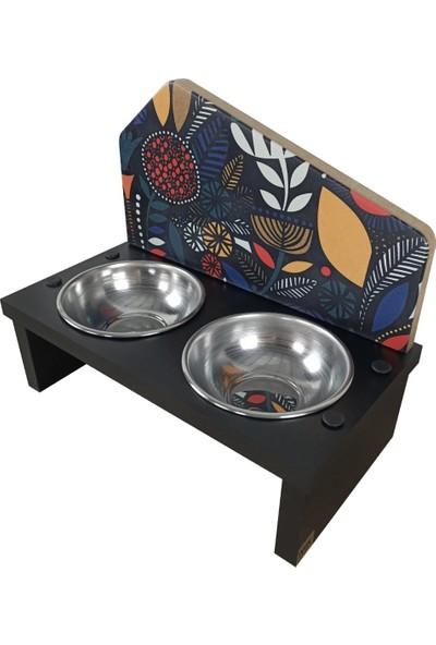 Odun Concept Odunconcept Özel Baskılı Çelik Kaseli Kedi ve Küçük Irk Köpek Mama ve Su Kabı Ahşap - African