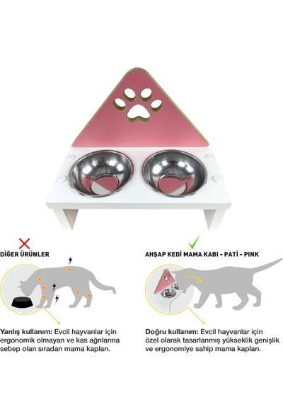 Odun Concept Kedi ve Küçük Irk Köpek Mama ve Su Kabı - Paslanmaz Çelik Kaseli - Pink Pati