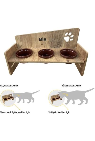 Odun Concept 3'lü Yüksekliği Ayarlanabilir Kedi ve Küçük Irk Köpek Mama ve Su Kabı Bordo Seramik Kaseli Tamamen Ahşap Desenli - Bordo Seramik Level