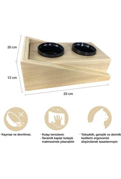 Odun Concept Dış Mekana Dayanıklı Seramik Kaseli Kedi Mama ve Su Kabı - Ramp Seramik