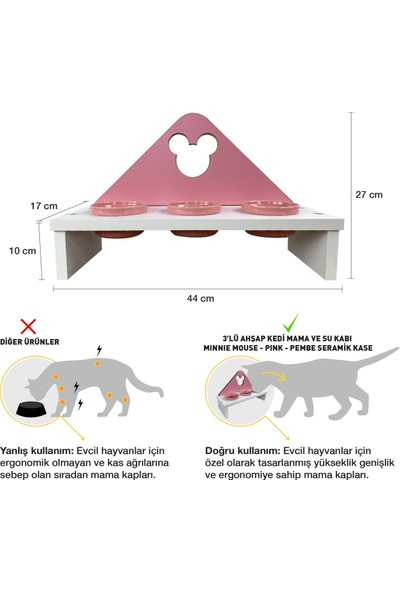 Odun Concept Odunconcept 3'lü Kedi ve Küçük Irk Köpek Mama ve Su Kabı - Pembe Seramik Kaseli Beyaz - Pink Minnie Mouse