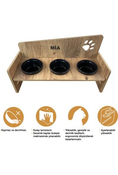 Odun Concept Odunconcept 3'lü Yüksekliği Ayarlanabilir Kedi ve Küçük Irk Köpek Mama ve Su Kabı Siyah Seramik Kaseli Tamamen Ahşap Desenli - Siyah Seramik Level