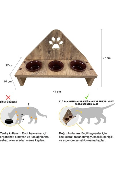 Odun Concept 3'lü Bordo Seramik Kaseli Kedi Mama ve Su Kabı - Tamamen Ahşap Desenli - Pati