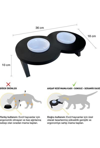 Odun Concept Odunconcept Beyaz Seramik Kaseli Kedi ve Küçük Irk Köpek Mama ve Su Kabı - Sonsuz