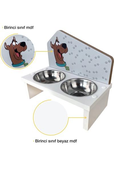 Odun Concept Özel Baskılı Çelik Kaseli Kedi ve Küçük Irk Köpek Mama ve Su Kabı Ahşap - Scooby Doo Beyaz