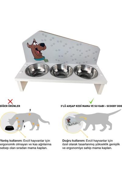 Odun Concept Odunconcept 3'lü Özel Baskılı Çelik Kaseli Kedi ve Küçük Irk Köpek Mama ve Su Kabı Ahşap - Scooby Doo Tamamen Beyaz