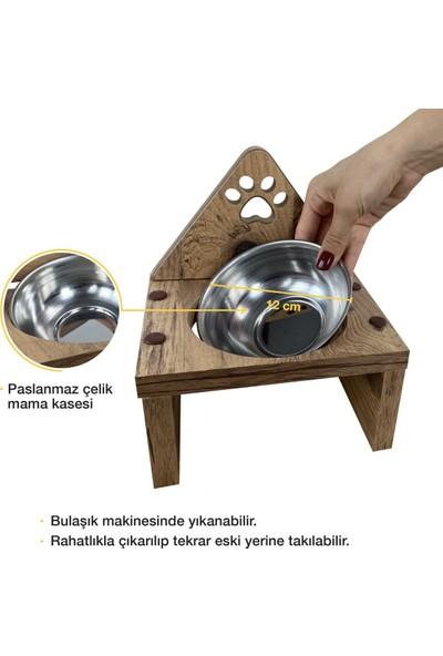 Odun Concept Odunconcept Tekli Kedi Mama ve Su Kabı - Paslanmaz Çelik Kaseli - Pati
