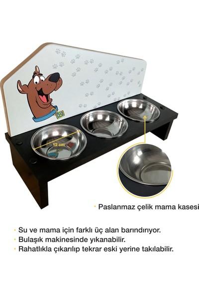 Odun Concept Odunconcept 3'lü Özel Baskılı Çelik Kaseli Kedi ve Küçük Irk Köpek Mama ve Su Kabı Ahşap - Scooby Doo