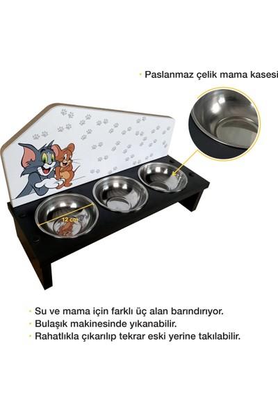 Odun Concept Odunconcept 3'lü Özel Baskılı Çelik Kaseli Kedi ve Küçük Irk Köpek Mama ve Su Kabı Ahşap - Tom ve Jerry