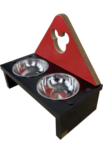 Odun Concept Odunconcept Kedi ve Küçük Irk Köpek Mama ve Su Kabı - Paslanmaz Çelik Kaseli - Red Edition Minnie Mouse