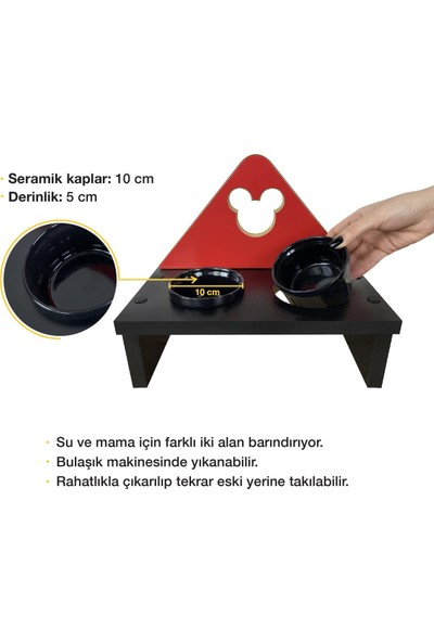 Odun Concept Odunconcept Kedi ve Küçük Irk Köpek Mama ve Su Kabı - Siyah Seramik Kaseli Siyah - Red Edition Minnie Mouse