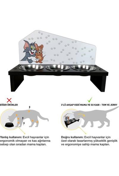 Odun Concept 3'lü Özel Baskılı Çelik Kaseli Kedi ve Küçük Irk Köpek Mama ve Su Kabı Ahşap - Tom ve Jerry