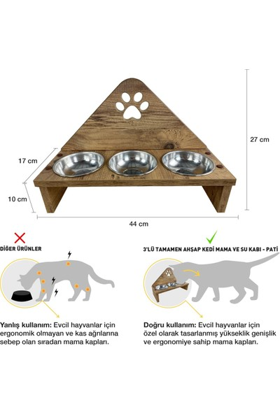 Odun Concept Odunconcept 3'lü Çelik Kaseli Ahşap Kedi Mama ve Su Kabı - Pati Tamamen Ahşap