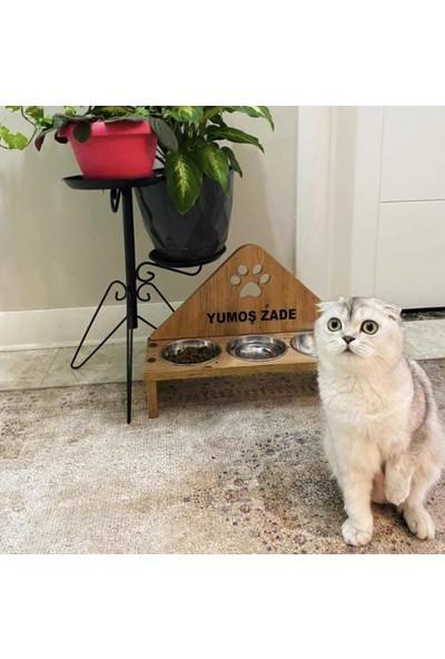 Odun Concept 3'lü Çelik Kaseli Ahşap Kedi Mama ve Su Kabı - Pati Tamamen Ahşap
