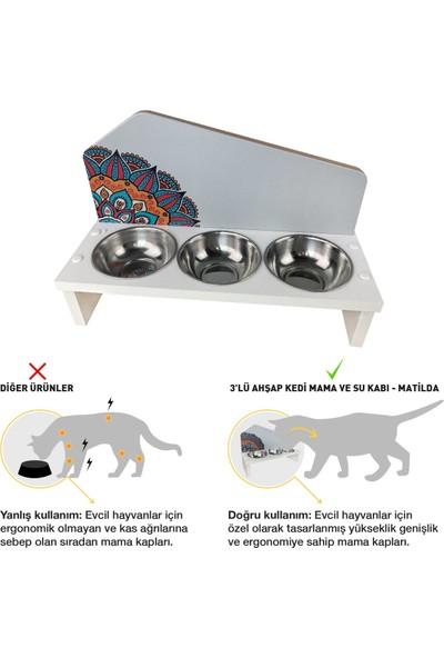 Odun Concept Odunconcept 3'lü Özel Baskılı Çelik Kaseli Kedi ve Küçük Irk Köpek Mama ve Su Kabı Ahşap - Matilda Tamamen Beyaz
