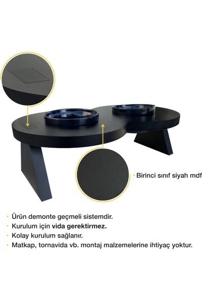Odun Concept Siyah Seramik Kaseli Kedi ve Küçük Irk Köpek Mama ve Su Kabı - Sonsuz