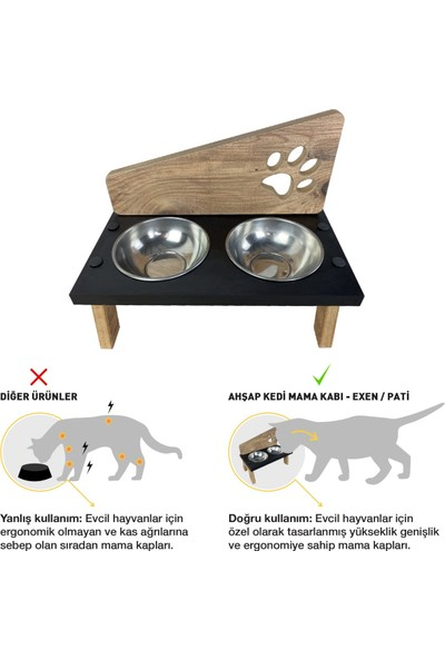 Odun Concept Çelik Kaseli Ahşap Kedi Mama ve Su Kabı - Exen - Pati