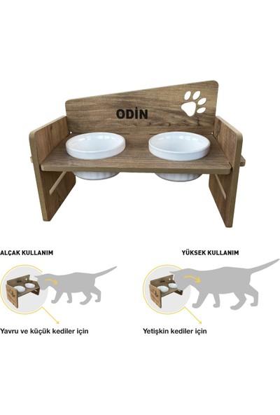 Odun Concept Odunconcept Yüksekliği Ayarlanabilir Kedi ve Küçük Irk Köpek Mama ve Su Kabı Beyaz Seramik Kaseli Tamamen Ahşap Desenli - Beyaz Seramik Level