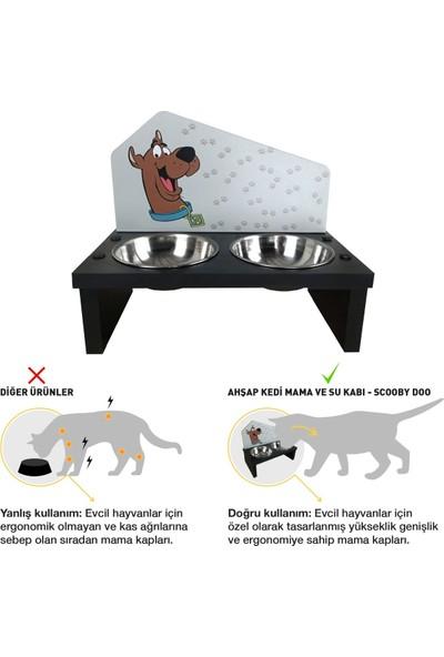 Odun Concept Özel Baskılı Çelik Kaseli Kedi ve Küçük Irk Köpek Mama ve Su Kabı Ahşap - Scooby Doo