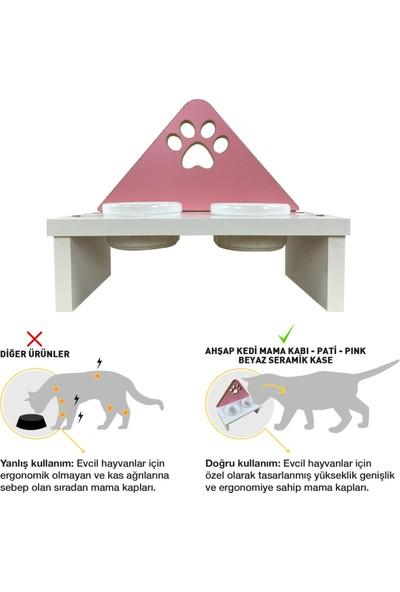 Odun Concept Kedi ve Küçük Irk Köpek Mama ve Su Kabı - Beyaz Seramik Kaseli Beyaz - Pink Edition Pati